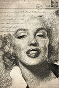 Signature Mixed Media Prints - Marilyn Monroe Print by Taylan Soyturk