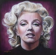 Airbrush Posters - Marilyn Monroe Poster by Tim  Scoggins