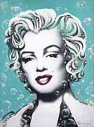 Movie Stars Framed Prints - Marilyn Monroe Turquoise Framed Print by Alicia Hayes