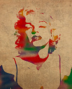 Actors Mixed Media Prints - Marilyn Monroe Watercolor Portrait on Worn Distressed Canvas Print by Design Turnpike