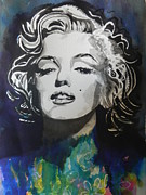 Blacks Painting Posters - Marilyn Monroe..2 Poster by Chrisann Ellis