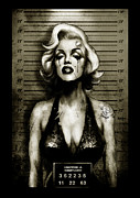 Old School Framed Prints - Marilyn Mugshot Framed Print by Screaming Demons
