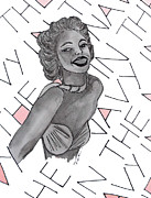 Norma Jean Drawings - Marilyn Navy Pin-up Cream and Pink by Karen Larter