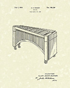 Percussion Framed Prints - Marimba 1936 Patent Art Framed Print by Prior Art Design