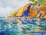 Marina At Catalina Print by Therese Fowler-Bailey