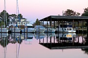 Carolyn Ricks Metal Prints - Marina At Dusk Metal Print by Carolyn Ricks