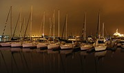 Boats In Reflecting Water Photo Framed Prints - Marina at Night Framed Print by Jenny Hudson