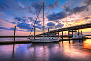 Florida Bridges Prints - Marina at Sunset Print by Debra and Dave Vanderlaan