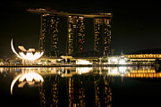 Standalone Framed Prints - Marina Bay Sands and the ArtScience Museum from across Marina Bay at night Framed Print by Chris Quek