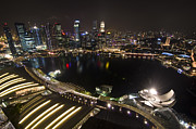 Nightscape Posters - Marina Bay View Poster by Aaron S Bedell