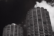 Marina Posters - Marina City Morning B W Poster by Steve Gadomski