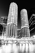Chicago Black White Posters - Marina City Towers at Night Black and White Picture Poster by Paul Velgos