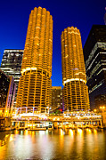 Marina Night Framed Prints - Marina City Towers at Night  Picture Framed Print by Paul Velgos
