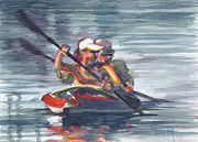 Boaters Painting Prints - Marina Kayakers Print by Lola Waller