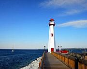 Michigan Prints - Marina Lighthouse Print by Mel Steinhauer