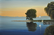 Canoes Paintings - Marina Morning by Kenneth M  Kirsch