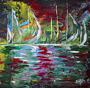 Sail Boats Prints - Marina Nights Print by Donna Blackhall