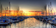 """blue Sunset"" Posters - Marina Summer Sunset Poster by Heidi Smith"