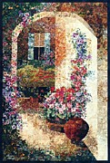 France Tapestries - Textiles Metal Prints - Marinas Garden Metal Print by Lenore Crawford
