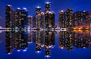 Pusan Prints - Marine City Reflection Print by Andrea Jones