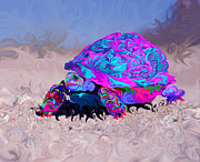 Kenneth James Posters - Marine Corporals Turtle in Peace Paint v2 Poster by Kenneth James