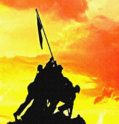 Bravery Digital Art Posters - Marine Iwo Jima Memorial DC Poster by Nadine and Bob Johnston