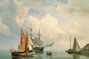 Sailboat Paintings - Marine  by Johannes Hermanus Koekkoek
