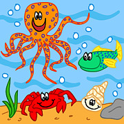 Friendly Cartoon Posters - Marine life cartoon characters Poster by Sylvie Bouchard