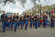 Nola Photo Posters - Marine Marching Band Poster by Steve Harrington