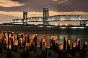 Moonlit Acrylic Prints - Marine Parkway Bridge Acrylic Print by JC Findley