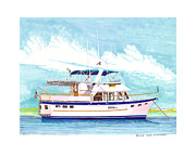 Lifestyle Painting Posters - Marine Trader 37 Trawler yacht at anchor Poster by Jack Pumphrey