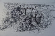 Marines Drawings Prints - Marines in Afghanistan Print by Fabio Cedeno