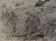 Marines Drawings Framed Prints - Marines in Vietnam Framed Print by Fabio Cedeno