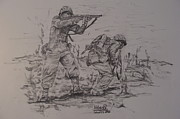 Marines Drawings Prints - Marines in WW II Print by Fabio Cedeno