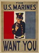 Enlisted Framed Prints - Marines W W 1 Poster Framed Print by Daniel Hagerman