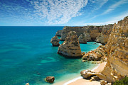 Cliffs Posters - Marinha Cove Algarve Portugal Poster by Christopher Elwell and Amanda Haselock