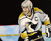 Hockey Painting Posters - Mario Lemieux The Penguin That Saved Pittsburgh Poster by Philip Kram