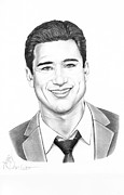 Graphite Framed Prints - Mario Lopez Framed Print by Murphy Elliott