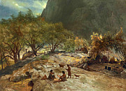 Famous Artists - Mariposa Indian Encampment Yosemite Valley California by Albert Bierstadt