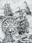 Tall Ship Drawings Prints - Maritime Heritage Print by James Williamson