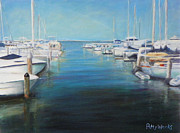 Sailboats Docked Painting Posters - Maritime Poster by Patty Weeks