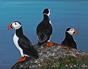 Puffin Paintings - Maritime Trio by Barbara McMahon