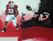 Running Back Mixed Media - Mark Ingram Roll Tide by Ottoniel Lima