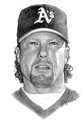Athletes Drawings - Mark McGwire by Harry West