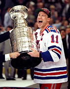 New York Rangers Prints - Mark Messier celebrating the Stanley Cup Print by Sanely Great