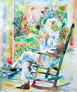Huckleberry Prints - MARK TWAIN sitting and smoking a CIGAR - watercolor portrait Print by Fabrizio Cassetta