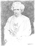 Author Drawings Metal Prints - Mark Twain Metal Print by Steve  Hockenyos