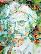Huckleberry Prints - MARK TWAIN - watercolor portrait Print by Fabrizio Cassetta