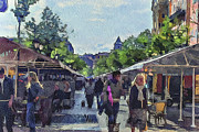 Old Town Digital Art Framed Prints - Market at Nice Framed Print by Yury Malkov