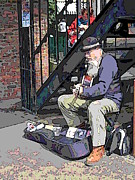 Dark Grey Blue Framed Prints - Market Busker 11 Framed Print by Tim Allen